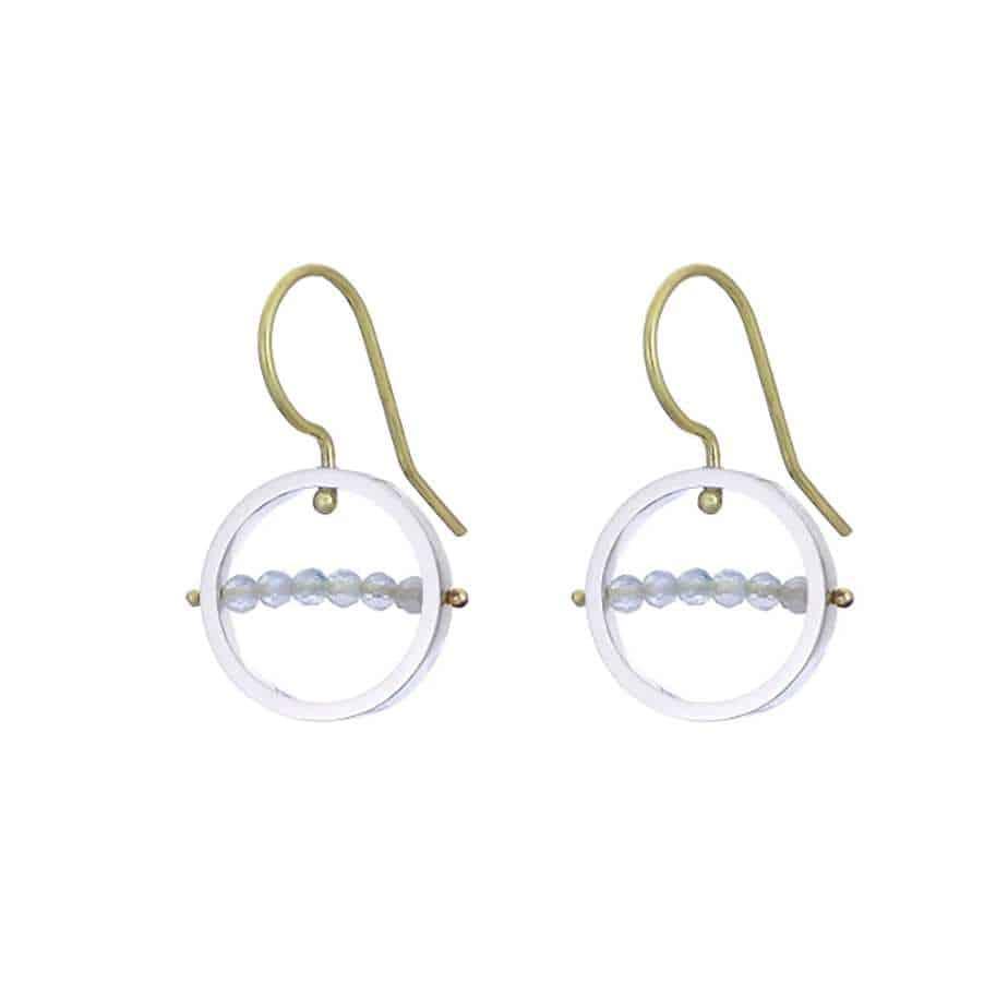 nicole van der wolf 9k yellow gold silver aquamarine ice rink earrings designyard contemporary jewellery gallery dublin ireland