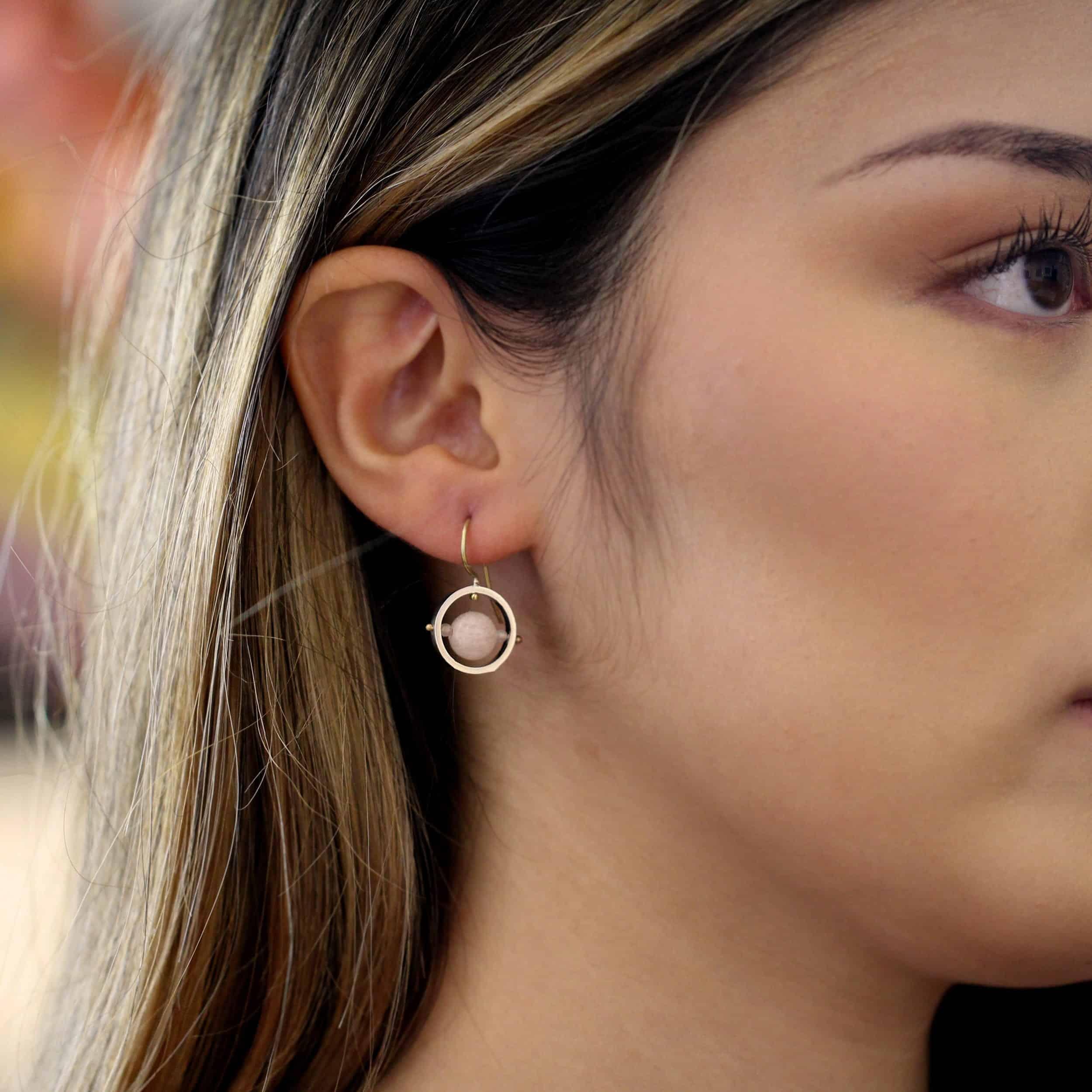 nicole van der wolf ice rink earrings morganite pink beryl designyard contemporary jewellery gallery dublin ireland