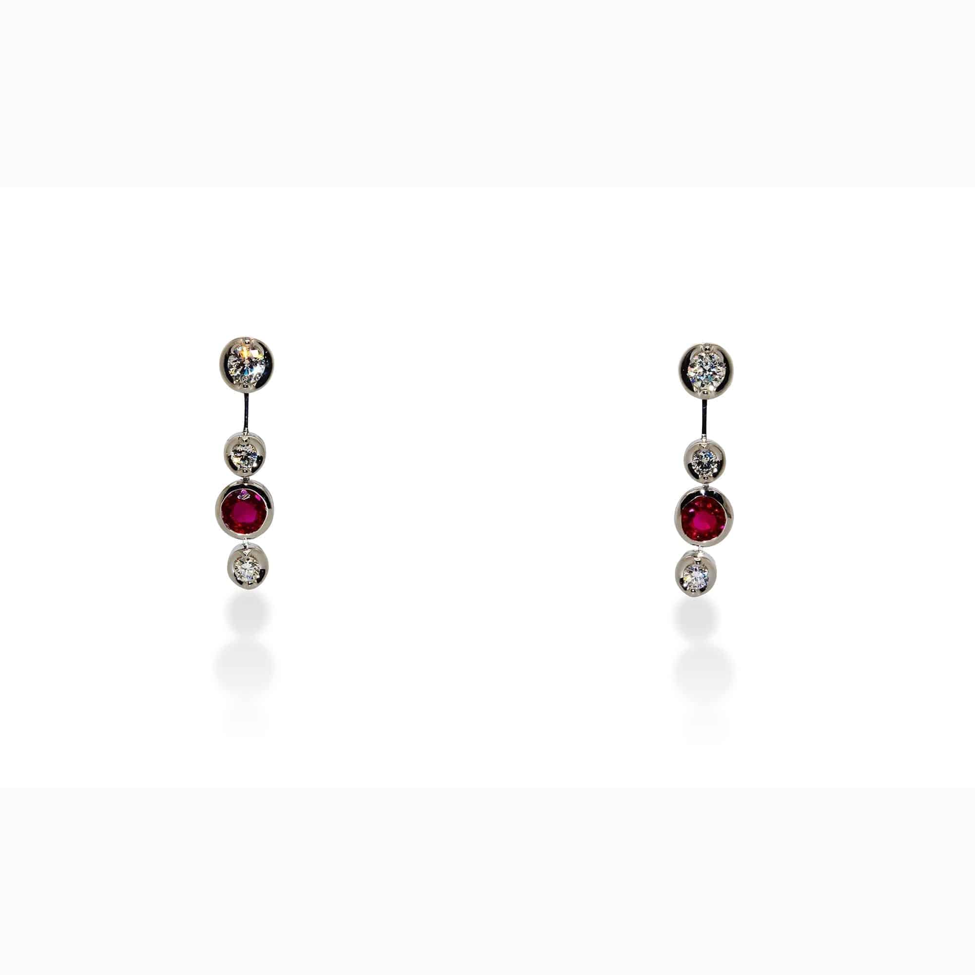 ronan campbell 18k white gold trio plus one ruby diamond drop earrings designyard contemporary jewellery gallery dublin ireland