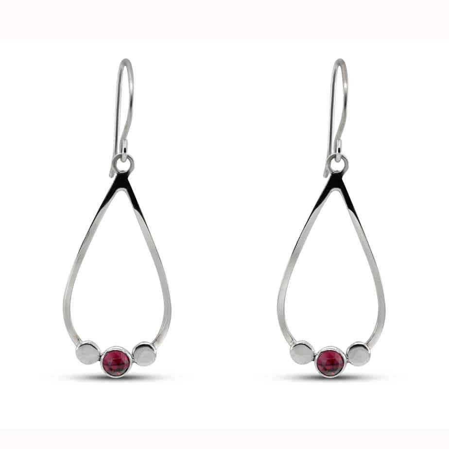 stephanie robinson pebble drop rhodolite garnet earrings designyard contemporary jewellery gallery dublin ireland