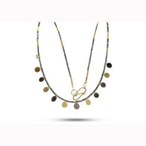 catherine mannheim 18k yellow white gold diamond necklace designyard contemporary jewellery gallery dublin ireland
