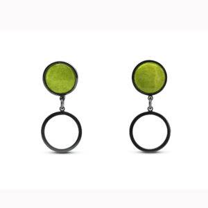 jane moore oxidised sterling silver round green enamel drop earrings designyard contemporary jewellery gallery dublin ireland