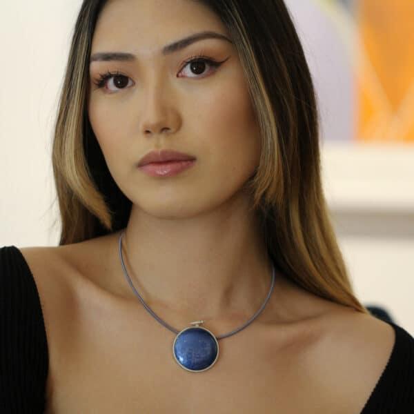 jane moore sterling silver blue enamel round bird necklace designyard contemporary jewellery gallery dublin ireland