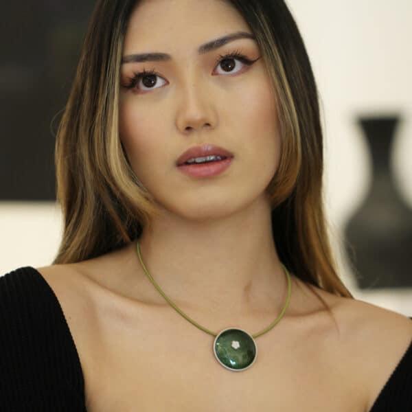 jane moore sterling silver dark green enamel flower necklace designyard contemporary jewellery gallery dublin ireland