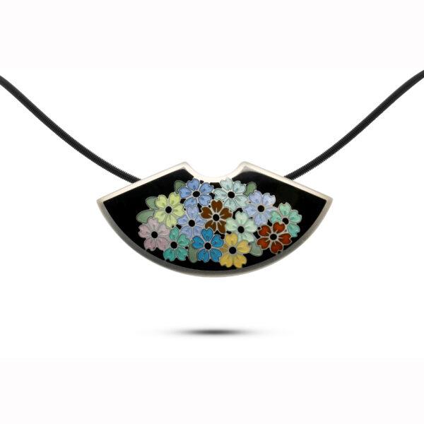 jane moore sterling silver enamel fan flowers necklace designyard contemporary jewellery gallery dublin ireland