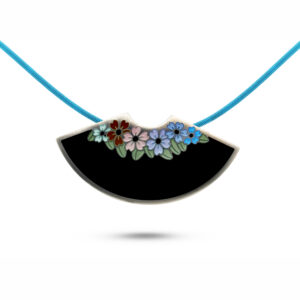 jane moore sterling silver enamel fan flowers necklace designyard contemporary jewellery gallery dublin ireland