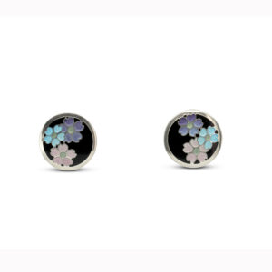 jane moore sterling silver enamel round flower stud earrings designyard contemporary jewellery gallery dublin ireland