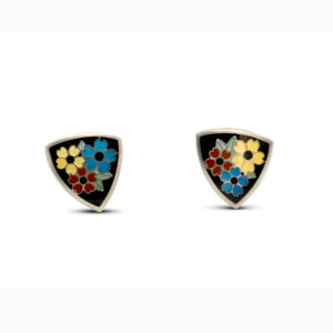 jane moore sterling silver enamel triangle flower stud earrings designyard contemporary jewellery gallery dublin ireland