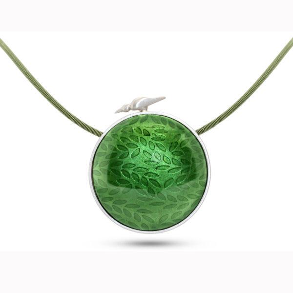 jane moore sterling silver green enamel round bird necklace designyard contemporary jewellery gallery dublin ireland