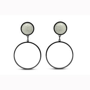 jane moore sterling silver oxidised yellow enamel round drop earrings designyard contemporary jewellery gallery dublin ireland