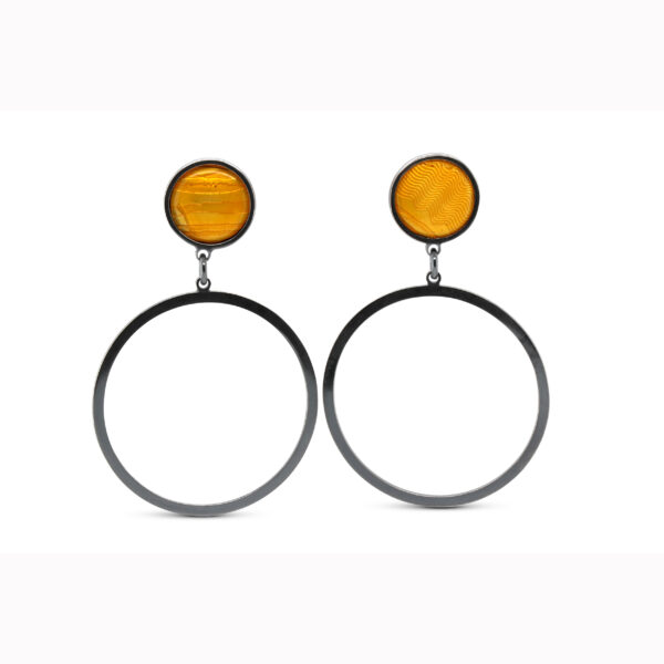 jane moore sterling silver oxidised yellow enamel round drop earrings designyard contemporary jewellery gallery dublin ireland