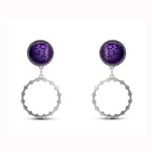 jane moore sterling silver purple enamel spikey round drop earrings designyard contemporary jewellery gallery dublin ireland