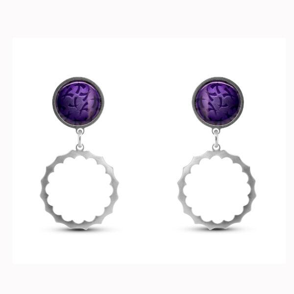 jane moore sterling silver purple enamel spikey round drop earrings designyard contemporary jewellery gallery dublin ireland