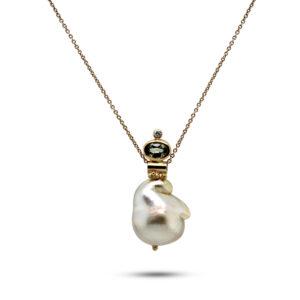 josephine bergsoe 18k 22k yellow gold gone fishing pearl sapphire diamond necklace designyard contemporary jewellery gallery dublin ireland