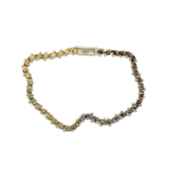 myriam oude vrielink 14k yellow gold multicoloured diamond bracelet designyard contemporary jewellery gallery dublin ireland