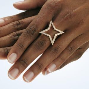 angela hubel 18k yellow gold diamond star statement ring designyard contemporary jewellery gallery dublin ireland