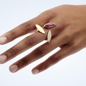 angela hubel 18k yellow gold galapagos garnet diamond statement ring designyard contemporary jewellery gallery dublin ireland handmade jewellery jewelry fine jewelry