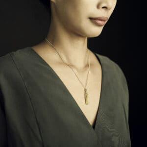 claudia milic 18k yellow gold tassel collier designyard contemporary jewellery gallery dublin ireland handmade designer jewelry