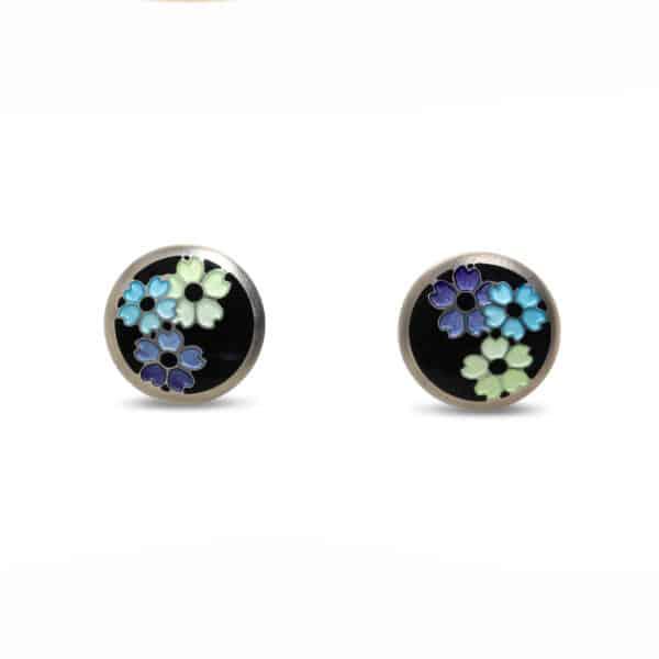 jane moore sterling silver enamel round flower stud earrings designyard contemporary jewellery gallery dublin ireland handmade jewelry