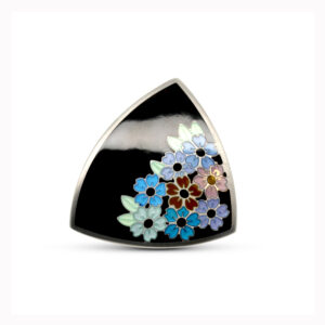 jane moore sterling silver flower triangle enamel brooch designyard contemporary jewellery gallery dublin ireland