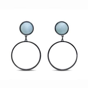 jane moore sterling silver oxidised light blue enamel round drop earrings designyard contemporary jewellery gallery dublin ireland hand made