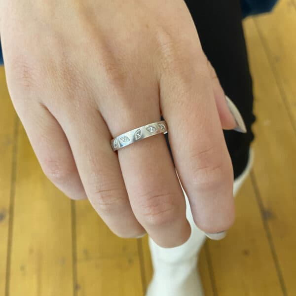 paul spurgeon platinum marquise diamond set eternity ring designyard contemporary jewellery gallery dublin ireland handmade jewelry