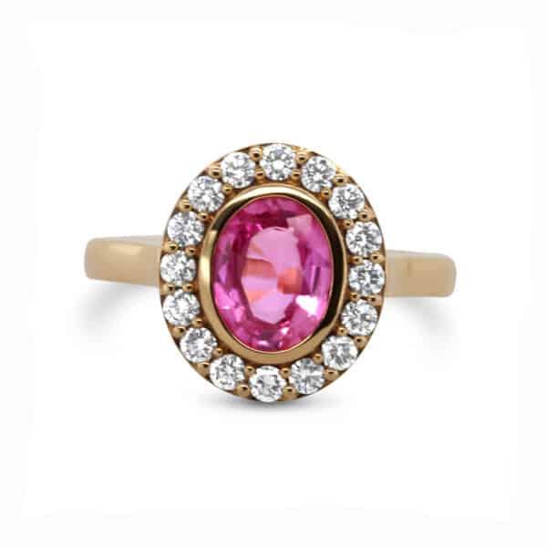 ronan campbell 18k rose gold pink sapphire diamond engagement ring diamond ring designyard contemporary jewellery gallery dublin ireland