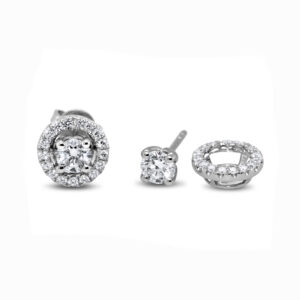 ronan campbell 18k white gold diamond stud earrings with diamond jackets designyard contemporary jewellery gallery dublin ireland