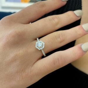 ronan campbell platinum hexagonal round diamond engagement ring eternity ring designyard contemporary jewellery gallery dublin ireland