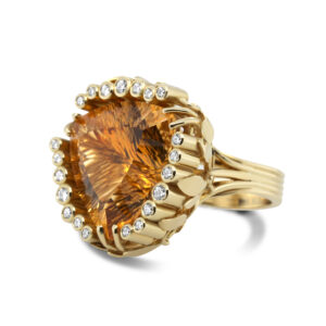 rudolf heltzel 18k yellow gold diamond citrine ring designyard contemporary jewellery gallery dublin ireland high jewelry
