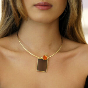 rudolf heltzel 18k yellow gold frosted smokey quartz mexican fire opal diamond pendant designyard contemporary jewellery gallery dublin ireland