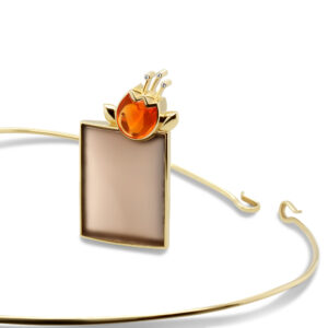 rudolf heltzel 18k yellow gold frosted smokey quartz mexican fire opal diamond pendant designyard contemporary jewellery gallery dublin ireland hobein cut