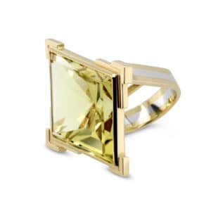 rudolf heltzel 18k yellow gold platinum lime quartz statement ring designyard contemporary jewellery gallery dublin ireland