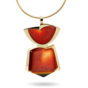 rudolf heltzel 18k yellow gold red druzy carnelian pendant designyard contemporary jewellery gallery dublin ireland lorenz cut