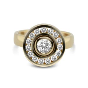 rudolf heltzel 18k yellow gold surround halo diamond engagement ring designyard contemporary jewellery gallery dublin ireland