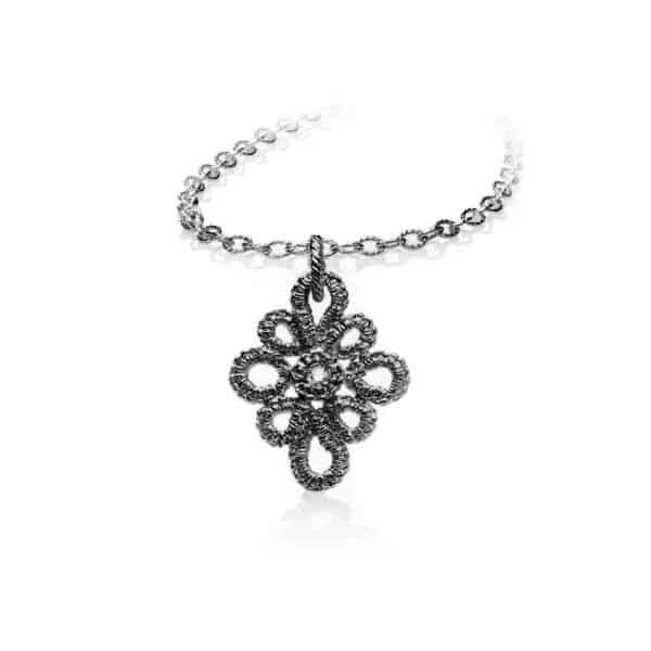 brigitte adolph necklace pendant miss medea oxidised silver with champagne diamond 1122 designyard contemporary jewellery gallery dublin ireland handmade jewelry