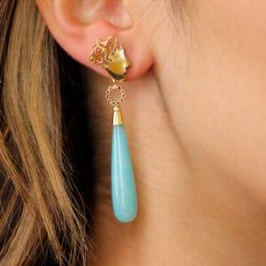 cassie mccann 18k yellow gold medusa ruby amazonite drop earrings designyard contemporary jewellery gallery dublin ireland handmade fine irish jewelry