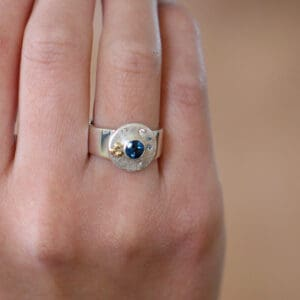 cassie mccann silver 18k yellow gold diamond oceania ring designyard contemporary jewellery gallery dublin ireland fine irish design jewelry