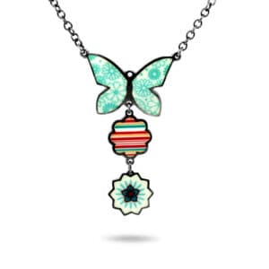 jane moore enamel butterfly flower necklace designyard contemporary jewellery gallery dublin ireland handmade irish jeweller designer