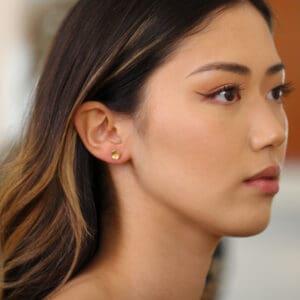 josephine bergsoe yellow gold diatom diamond earrings designyard contemporary jewellery gallery dublin ireland fine jewelry design