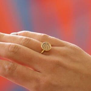 josephine bergsoe yellow gold diatom diamond ring designyard contemporary jewellery gallery dublin ireland fine jewelry design