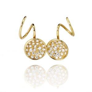 josephine bergsoe yellow gold diatom swirl diamond earrings designyard contemporary jewellery gallery dublin ireland handmade jewelry