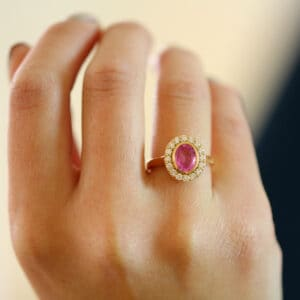 ronan campbell 18k rose gold pink sapphire diamond engagement ring diamond ring designyard contemporary jewellery gallery dublin ireland fine handmade irish jewelry design