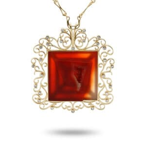 rudolf heltzel 18k yellow gold carved red carnelian diamond art pendant designyard contemporary jewellery gallery dublin ireland irish handmade fine jewelry art