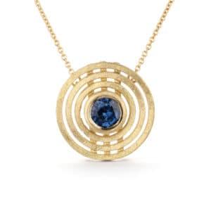 shimell and madden blue sapphire triple nova necklace pendant designyard contemporary jewellery gallery dublin ireland handmade jewelry