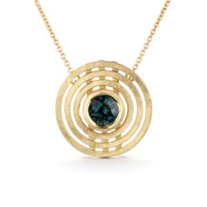 shimell and madden teal sapphire triple nova necklace pendant designyard contemporary jewellery gallery dublin ireland handmade jewelry