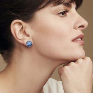 simon harrison coral crystal and enamel stud earring light blue designyard contemporary jewellery gallery dublin ireland handmade jewelry design jewellers designer shop irish