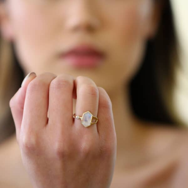 stephanie robinson 14k yellow gold hex moonstone diamond ring designyard contemporary jewellery gallery dublin ireland handmade luxury irish jewelry design designer
