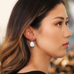stephanie robinson 14k yellow gold natural turquoise drop earrings designyard contemporary jewellery gallery dublin ireland luxe irish jeweller designer