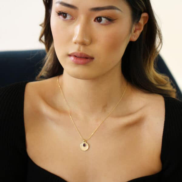 stephanie robinson 14k yellow gold rose cut amethyst disc pendant designyard contemporary jewellery gallery dublin ireland luxe irish jeweller jewelry designer